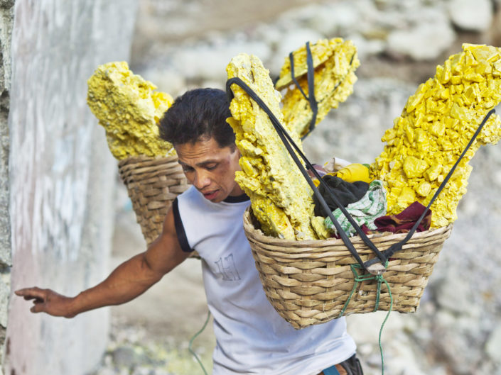Sulfur mining in Indonesia